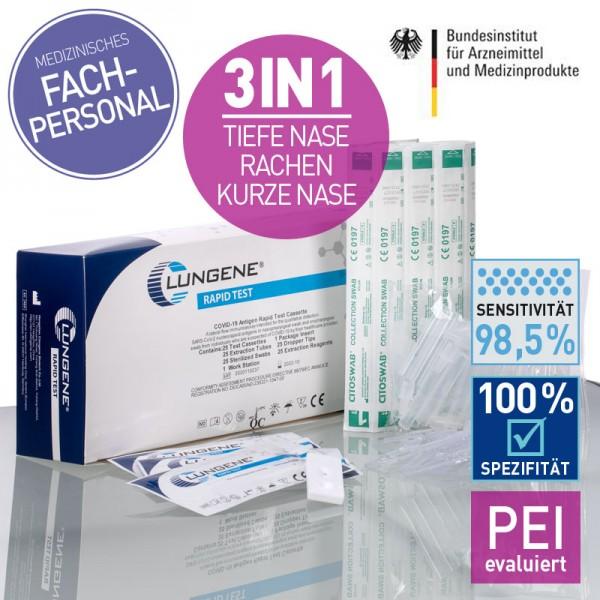 CLUNGENE COVID-19 Antigen Nasen-Rachen Schnelltest 3 in 1 (25)