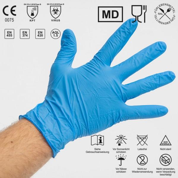 CRD Nitril Handschuhe EN455/EN374/LFGB Food/FDA/ 100er Box